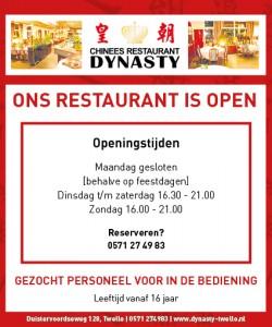 Openingstijden Restaurant 2021 Dynasty