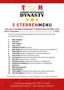 Dynasty 3 Sterrenmenu aug 2017