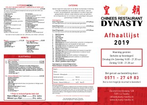Dynasty Afhaalkaart 2019